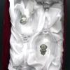 Boros poharak díszdobozban, címeres ón verettel