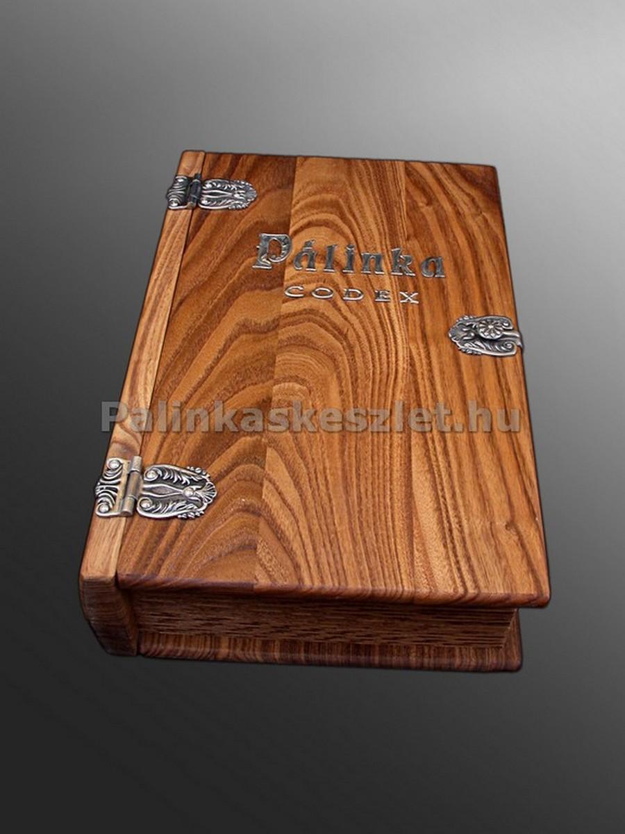 Pálinka kódex ón verettel, különlegesen megmunkált, pihentetett japán akácból. Igazi ritkaság!