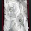 Két grappás pohár díszdobozban barack mintás ón verettel