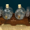 2 hordós, 6 poharas fa-üveg pálinkás készlet