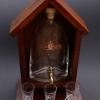 Pálinkás készlet csapos pálinkás üveggel, 3 pálinkás pohárral, barna fa állvánnyal