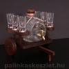 Pálinkás szekér literes csapos pálinkás hordóval és 6 pálinkás pohárral barna színben