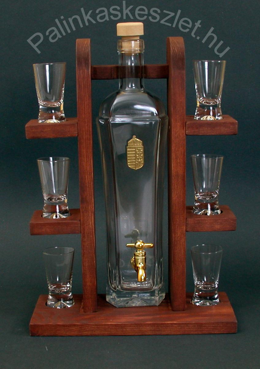 Pálinkás polc fa állvánnyal, csapos üveggel, 6 pohárral