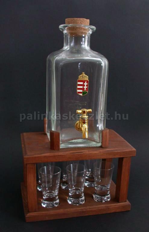 Pálinkás torony 1 csapos üveggel, 6 pohárral, barna fa állvánnyal