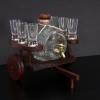 Pálinkás szekér 1 csapos hordóval 6 pohárral barna vagy natúr színben