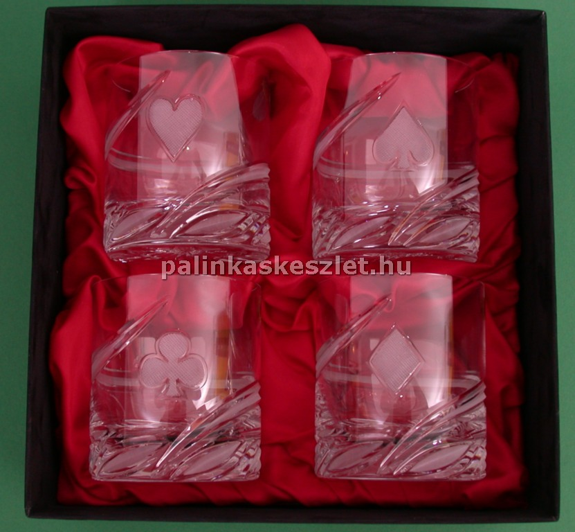 Póker mintás kristály pohár  készlet díszdobozban
