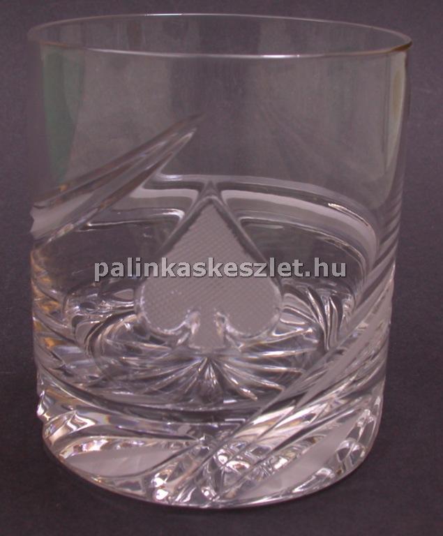 Póker mintás kristály pohár - pikk