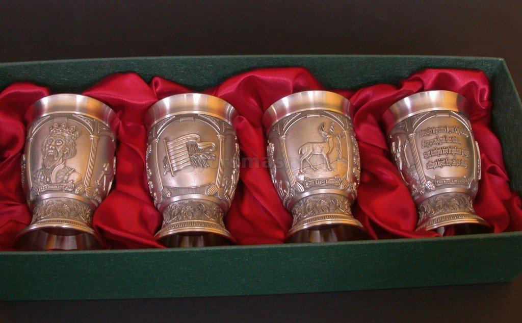 Boros pohár 95% tisztaságú ónból László Király emlékére 4 db-os szett