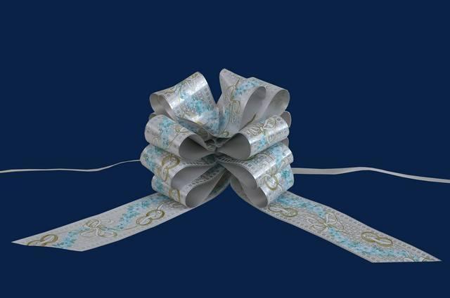 Esküvői masni 5cm széles 150 cm hosszú ezüst színű mintás anyagból