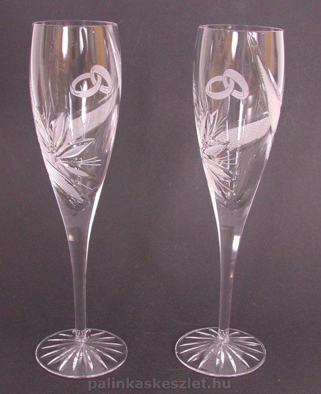 Esküvői ólomkristály pezsgőspohár készlet díszdobozban nászajándéknak