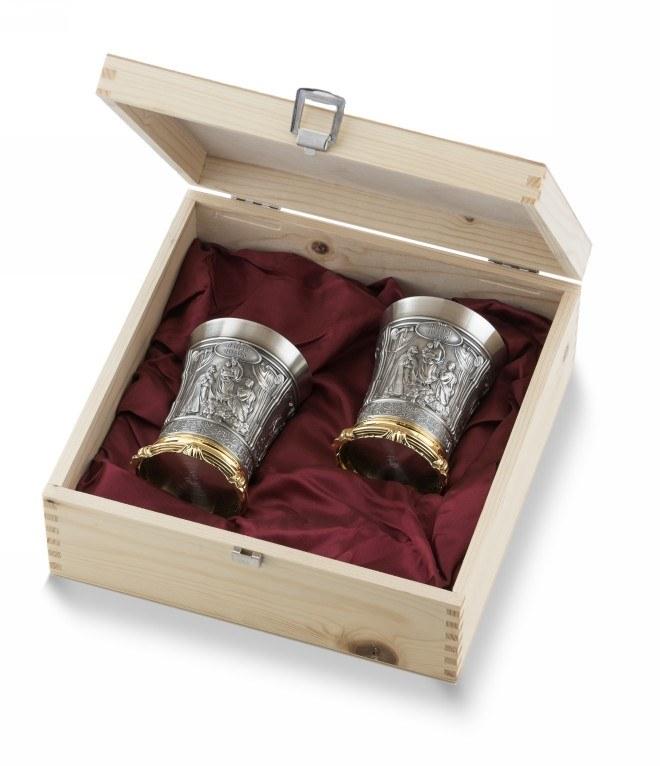 2 boros pohár fadobozban arany futtatással - Raffael