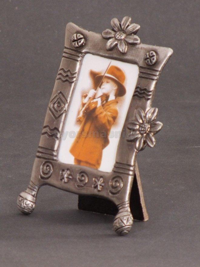 Kis fém képkeret ónból Gerbera