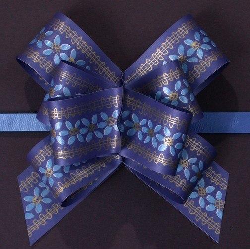 Masni mintás 31mm széles 20 db / csomag virág kék