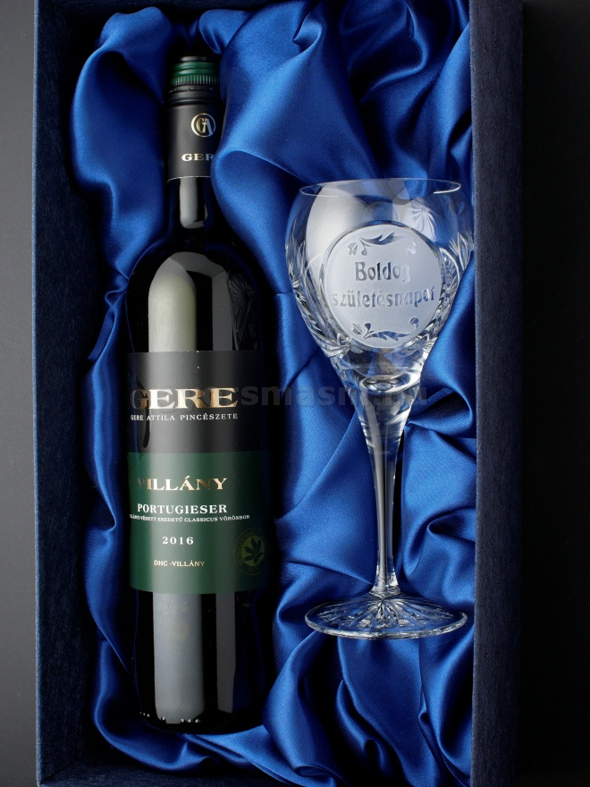 születésnapi borosüveg Születésnapi Boros pohár díszdobozban borosüveg hellyel  születésnapi borosüveg